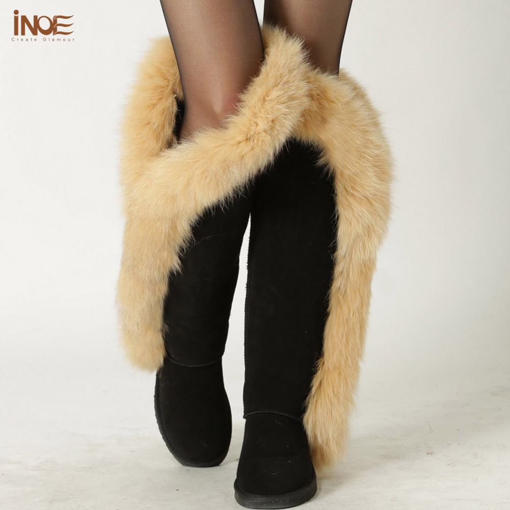 INOE cow suede leather real fox fur fashion thigh over the knee winter snow boots for women long winer shoes flats black grey inoe fashion big fox fur real cow split leather high winter snow boots for women winter shoes tall boots waterproof high quality