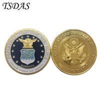 U.S. Department Of The Air Force Gold Plated Coin Pure Gold Plated Military Challenge Coin For Souvenir 1PC Free Shipping