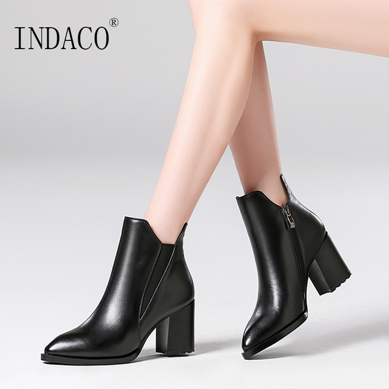 2018 Women Ankle Boots Black Brown Leather Thick High Heel Shoes 7cm Winter Boots Women brown black women in america paper only