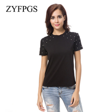 ZYFPGS 2019 New Summer Pearls Beading Letters T Shirt Short Sleeve O Neckblack Tees Ladies Casual Chic Tops Befree Hot L0513 джемпер befree befree mp002xw1hy6m