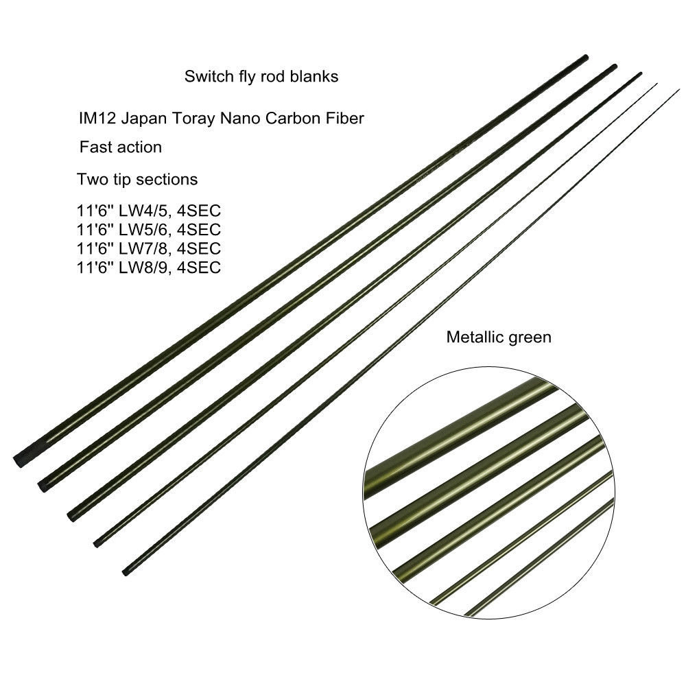 Aventik IM12 11'6'' LW4/5 LW7/8 Switch Fly Fishing Rod Blanks Fast Action Spey Salmon Fly Rod Blank With Spare Tips Fast Action aventik 11 3 lw7 im12 nano carbon fiber switch fly fishing rod blanks 4 sections fast action fly rods blank metallic green