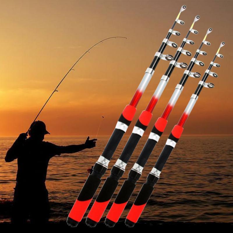 5 Size CNC Machined Aluminum Portable Telescopic Fishing Rod Glass Fiber Fishing Pole Travel Sea Fishing Spinning Rod