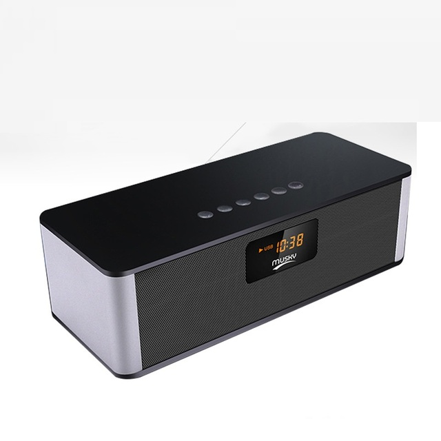 8 W Bluetooth Speaker Metal Despertador Falante Sem Fio com Display Do Computador Portátil Mini Altifalante Music Player Para Celular