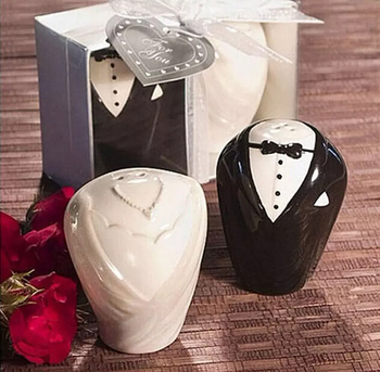 10Set Groom Bridal Porcelain Flavouring Pot Wedding Party Birthday Favor Gift Packaged with Gift Box