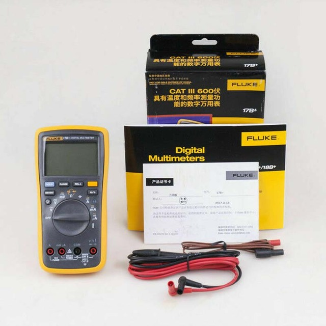 Fluke Digital Multimeter Profissional Multimeter Tester 17B+ Portable Handheld Digital Tester for AC/DC DMM with TL75 Test Leads