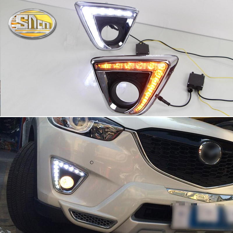 For Mazda CX-5 CX 5 CX5 2012 2013 2014,With Yellow Turning Signal Function Waterproof Car DRL 12V LED Daytime Running Light SNCN led 12v turning signal light drl daytime running light for mazda 6 2013 2014 waterproof abs fog lamp decoration