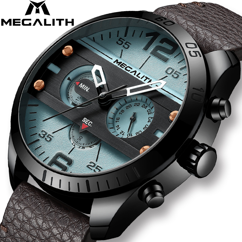 MEGALITH Fashion Sport Men's Watch Men Waterproof Multifunction Militray Leather Strap Quartz Men Watch Clock Relogio Masculino