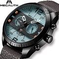 MEGALITH Mode Sport herren Uhr Männer Wasserdichte Multifunktions Militray Lederband Quarz Männer Uhr Uhr Relogio Masculino