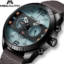ساعة رياضية رجالي أنيقة من MEGALITH متعددة الوظائف مقاومة للماء بحزام جلدي من الكوارتز ساعة للرجال