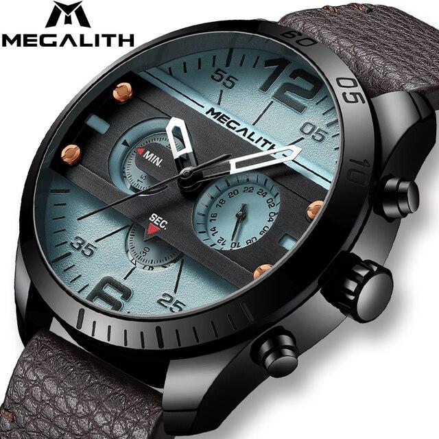 Relógio dos homens Do Esporte Da Forma Dos Homens À Prova D' Água Multifunções Militray MEGALITH Couro Strap Quartz Men Watch Relógio Relogio masculino