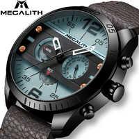 Reloj deportivo de moda MEGALITH para hombre, resistente al agua, multifunción, correa de cuero, reloj de cuarzo para hombre, reloj para hombre