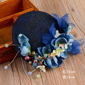 Vogue Fashion Women Wedding Party Lace Pearl Blue Fascinator Bride Flower Veil Sinamay Top Hat Hair Jewelry Hair Accessories