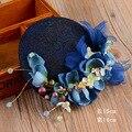 Vogue Mulheres Da Moda Festa de Casamento Rendas Pérola Azul Sinamay Top Hat Cabelo Fascinator Flor Véu Véu de Noiva Acessórios de Jóias de Cabelo
