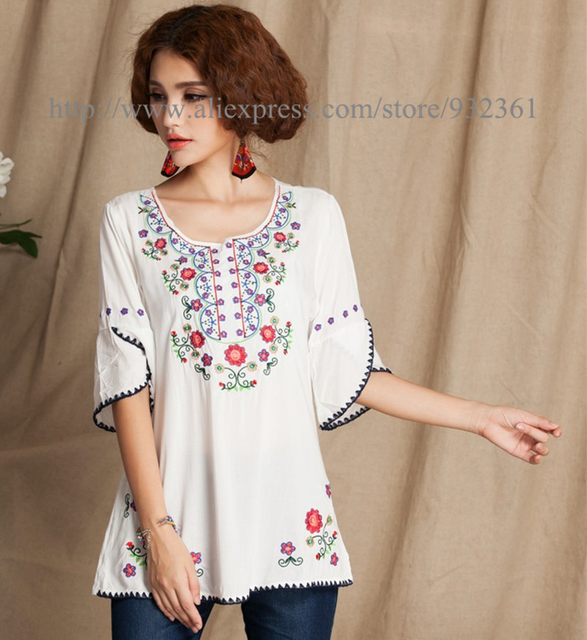 Vintage Mexican Floral Embroidery Women Blouses Boho Blouse Shirt