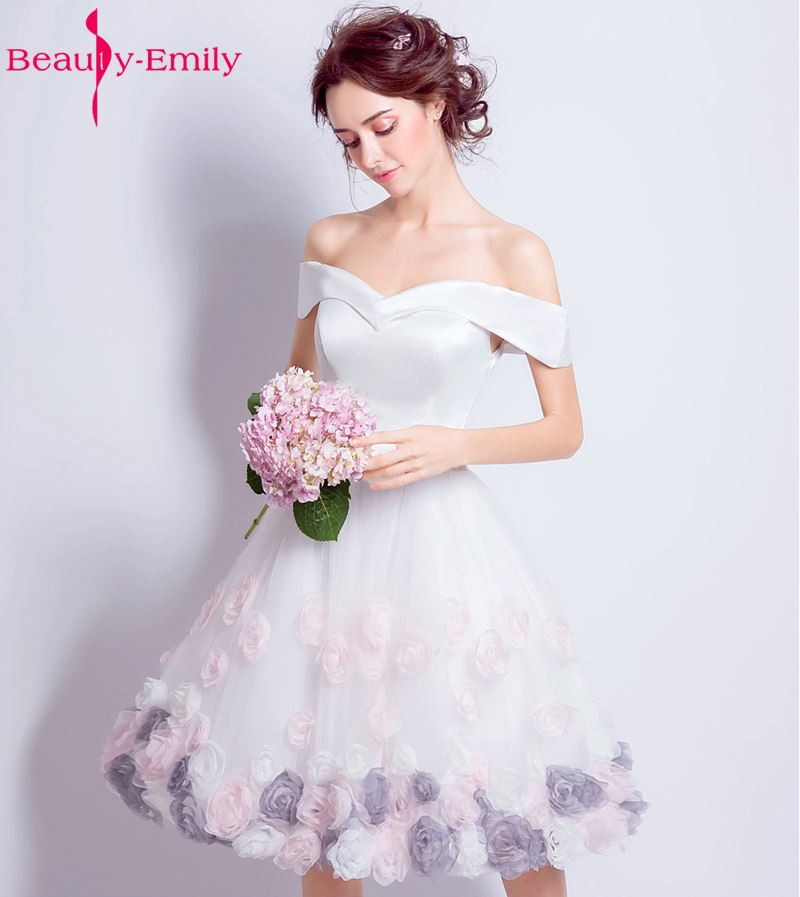 2019 grandes tailles en stock Rose violet fleur Rose robes De bal courtes Robe De soirée genou longueur fête Robe De soirée