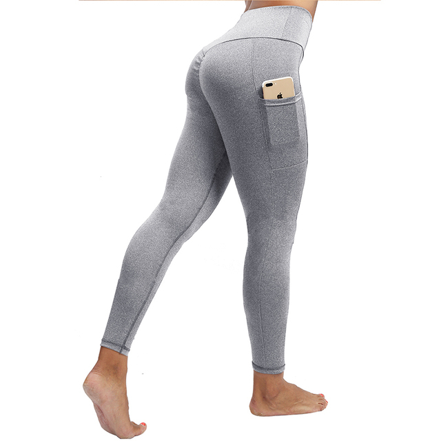 SOLID HIGH WAIST WOMEN LEGGINGS WITH POCKETS