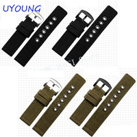 New Arrival Canvas Watchband 20mm 22mm Men Nylon Watch Strap Outdoors Thickening Bracelet