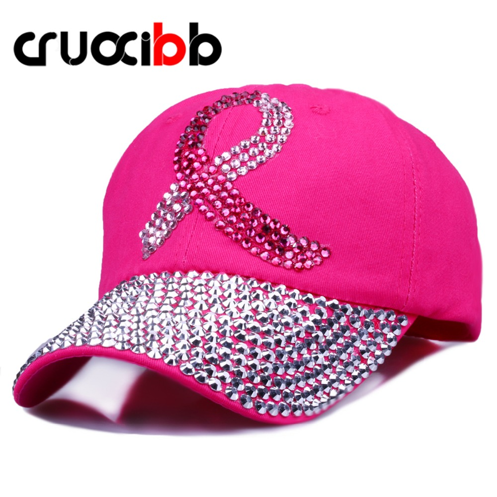 CRUOXIBB Crystal Baseball Cap for Women Breast Cancer Awareness Ribbon Hat  Rhinestone Caps Snapback Rivet New Hat 2017 Brand бальзам для губ eos limited edition breast cancer awareness