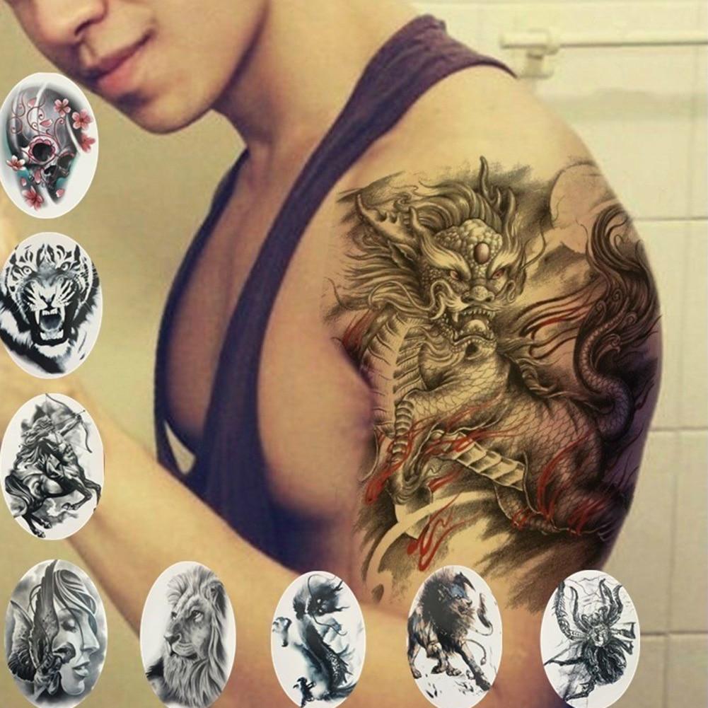 Cool Tiger Lion Dragon Temporary Tattoo Sticker Arm Shoulder Waterproof Flash Tattoo Animal Tattoos Adult Men And Women Body Art