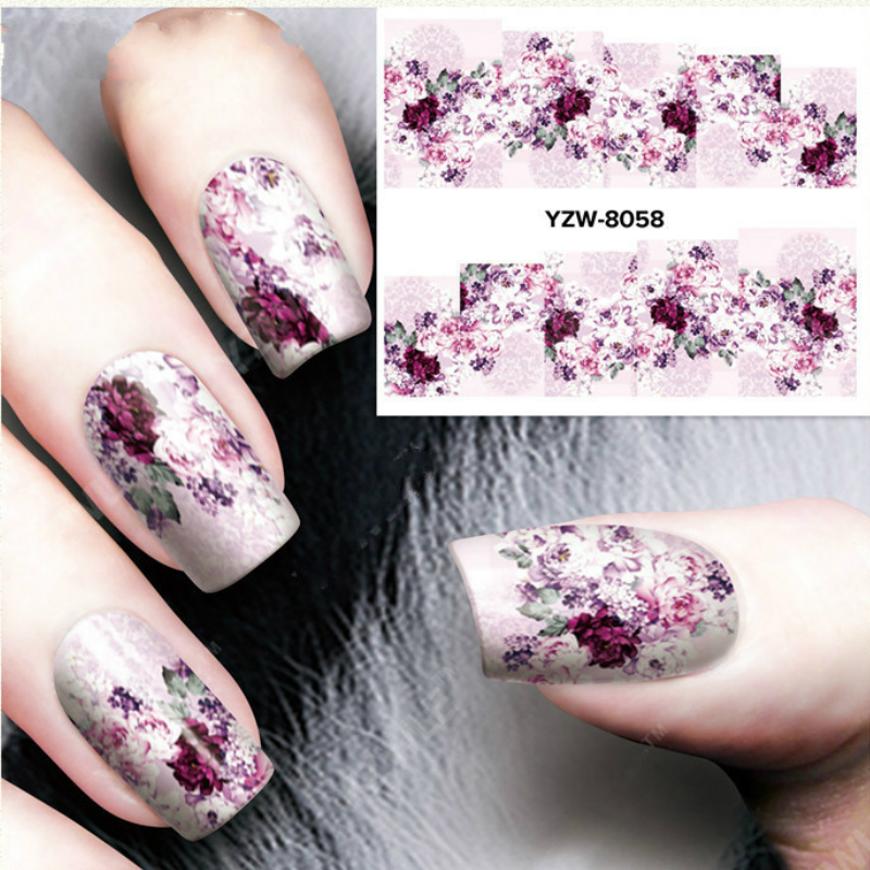 2Sheets Flowers Nail Stickers Wine Red Nails Decals Watercolor Manicure Diy Spring Geometry Design Stickers For Nails