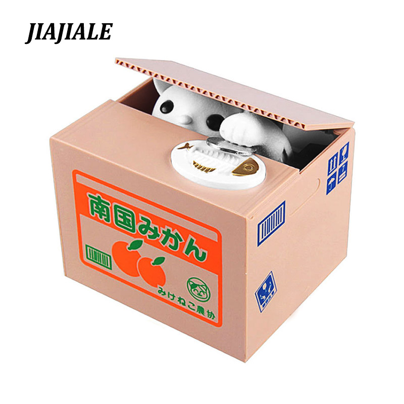 Free shipping Mischief Bank Piggy Bank Cat Automatic Electric Stole Coin Piggy Bank  Money Saving Box Gifts For Kids children the football game comes to coin money toy box pastic coin cases hidden safe kids piggy bank money toy game bank safe magic jbzq