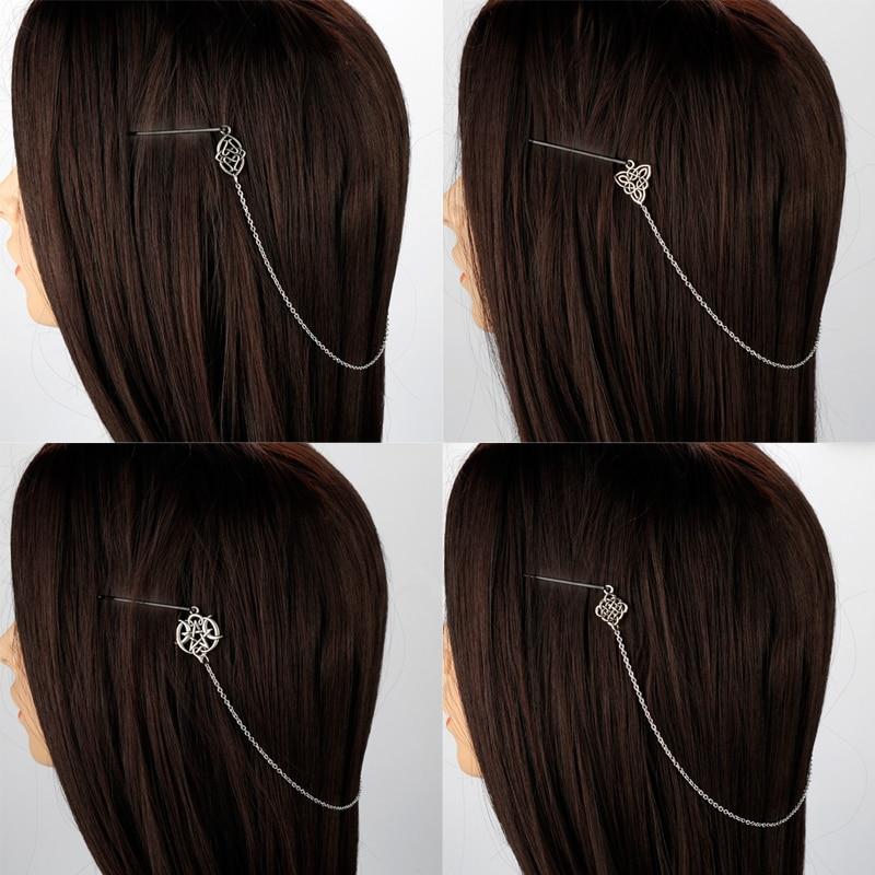 Viking Celtics Knot Hair Accessories Norse Hair Pin Vintage Silver Moon Star Hair Clip For Women Longhair Decorat Hair Chain