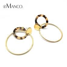 Resin Round Pendant Earrings Copper Alloy Multilayer Big Circle Leopard Grain Drop Earrings