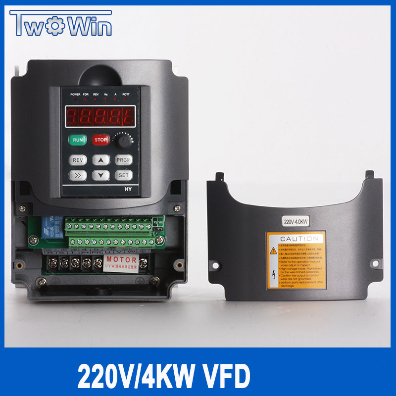 220V 4KW Frequency Inverter, Variable Frequency Converter For AC Spindle Motor 220v 1 Phase Input & 3 Phase AC Drives