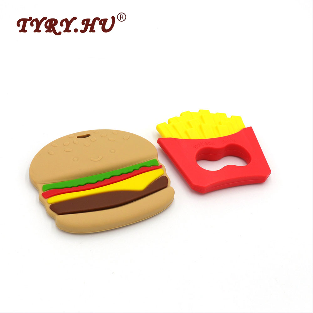 TYRY.HU 2pcs Potato Chips+Hamburger Baby Teether Food Grade French Fries Silicone Teether Beads For Necklace Pendant Nursing Toy
