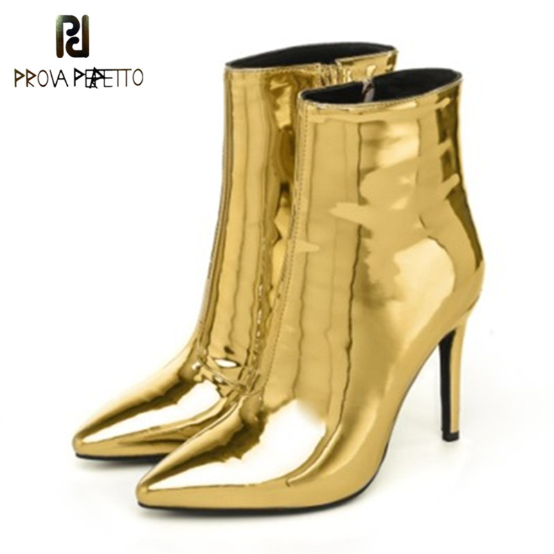 16075c79e267 Prova Perfetto 2018 Dress Shoes Mujer Thin High Heels Ankle Boots  Pointed-toe Luxury Gold Bling Sexy Stiletto Women Pumps Botas