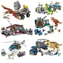 Jurassic World Park Dinosaurs Figures DIY Educational Building Variation Tyrannosaurus Assemble Blocks Classic Kids Toy