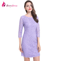 Berydress Elegant Women Full Zipper Sexy V Back 3 4 Sleeve Sheath Bodycon Wedding Party Floral