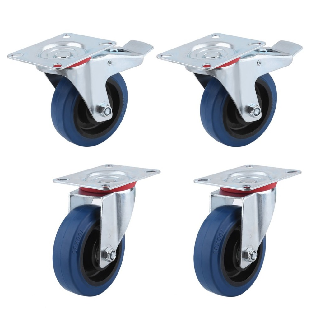 Fixed Rollers 4Pcs Heavy Duty Swivel Castor Wheels Trolley Furniture Caster With Brakes 160 Kg Max. Load Per Wheel Toiletry Kits