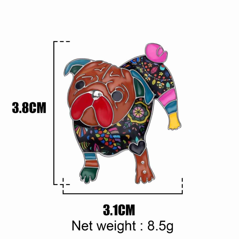 WEVENI alliage émail Unique carlin chien broches mode vêtements écharpe Pin mode Pet bijoux pour femmes filles adolescents cadeau décoration