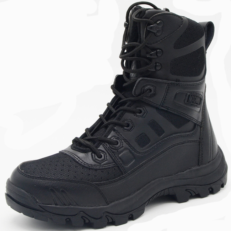 2018 hiking Men Military Tactical Boots Genuine Leather Rubber Black Combat Army Ankle Boots Mens Flat Safety Shoes military combat boots rubber bottom tactical boots lace up outdoor shoes men 11 autumn winter men leather working safety boots