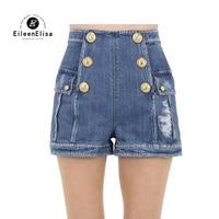 Модные шорты для женщин летние двубортные повседневные шорты Femme Брендовые джинсовые шорты женские