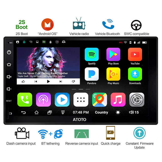 ATOTO A6 Doubel Din Android Car Auto Radio GPS Navi Player/2*Bluetooth/A6Y2721P 2G+32G/2A Quick charge/Indash Multimedia/WiFi