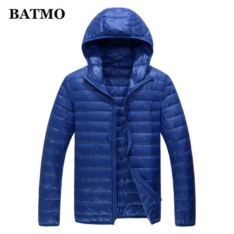 BATMO 2019 new arrival autumn high quality 80% white duck down jackets,men's thin blue Down hooded jacket,plus size M 5XL 779