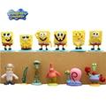 12 Pçs/set Spongebob Patrick Estrela Lula Molusco Gary Mini Action Figure Toys Boneca Filme Fornecer Coleção Presentes Dos Miúdos Com Base # DB