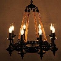 110v 220v Loft Iron Rope Pendientes Chandelier Lighting Lustres De Teto Abajur Avizeler Candelabro Luminaire Lampe