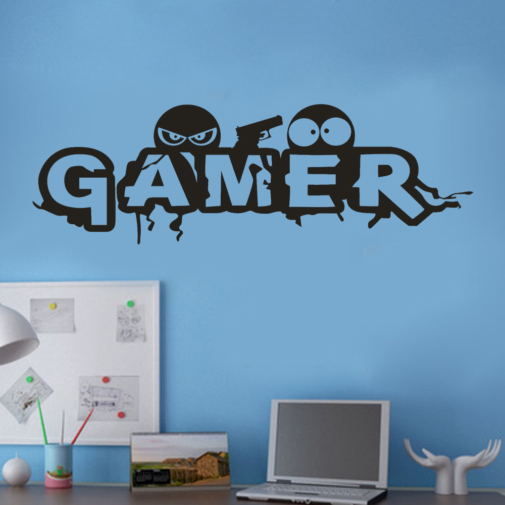 Gamer Wall Sticker Video Game Art Wallpaper Vinyl Wall Decal for Boys Room Play