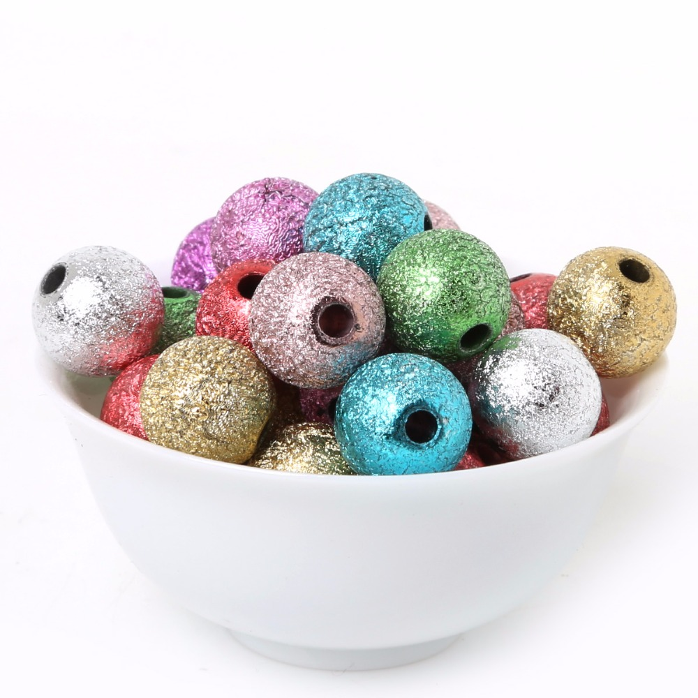 Plastic beads for crafts - Random Mix Silver Gold Acrylic Plastic Round Ball Spacer Beads Charms Findings 6 8 10 12mm For Jewelry Making Child Craft Diy