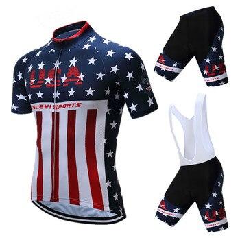 Teleyi Pro Team USA, ropa de ciclismo para hombre, Conjunto de Jersey de Ciclismo de manga corta de verano, Kit de camiseta de bicicleta de carretera MTB, ropa de bicicleta Anti-UV