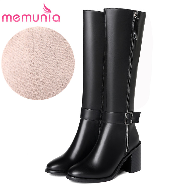 MEMUNIA 2018 hot sale genuine leather knee high boots women round toe autumn winter boots high heels dress shoes woman свитшот print bar ford mustang shelby gt500 [шредер]