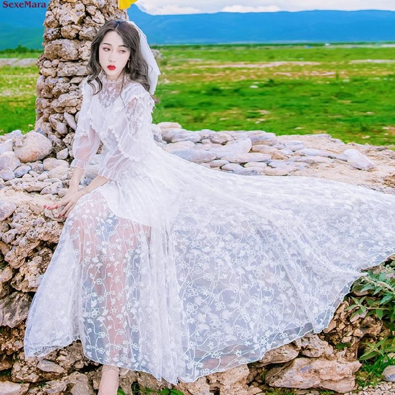 Broderie Bohème Cou Robe Ciel Livraison Sexemara Pu Gratuite V Femmes blanc x7B5qgwt