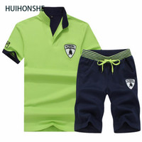 HUIHONSHE Brand 2 PCS 1 SET Men T Shirt Outwear Sporting Sets Male Tracksuit Tops Tee
