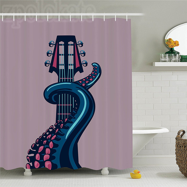 Octopus Decor Shower Curtain Tentacle Is Holding Guitar Riff Musical