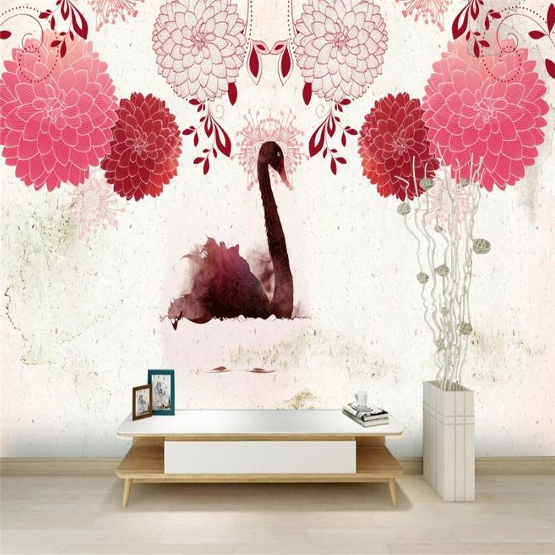 Pink Swans Animal Flower Wallpaper Custom 3 D Photo Wallpaper for Walls Desktop Dodern Living Room Wall Papers Bedroom Decor the wild swans