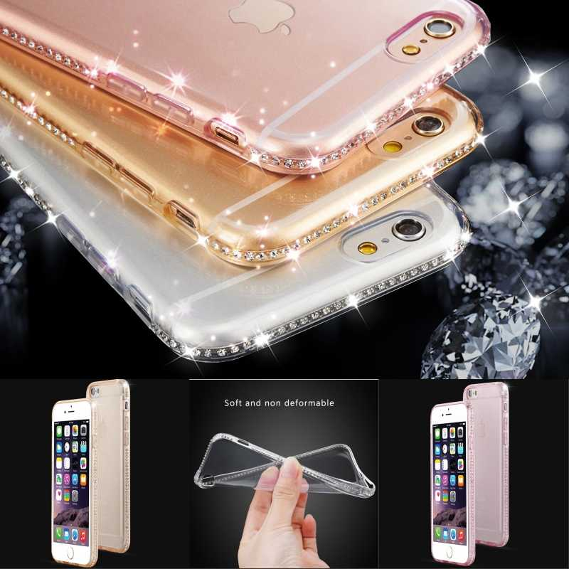 b2c07b97de9a21 For iphone 6s 6 Plus Case 5s Bling Rhinestone Diamond Soft Silicon Clear  Case for iphone