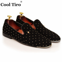COOL TIRO Black sheepskin spikes metal head Men Smoking Slippers male High quality Handmade wedding and party loafers shoes